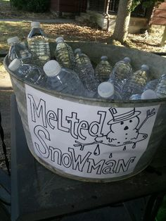 Nice way to present bottled water for a cabin fever party. :) *sign by James Ling.