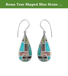 Boma Tear Shaped Blue Stone & Shell Mosaic Earrings. These lovely pear shaped natural stone and shell mosaic inlay dangle earrings feature blue turquoise, black mother of pearl shell and abalone shell. On sterling silver shepherds hooks. Boma uses natural gemstones and shells so each piece may vary naturally. Boma: Jewelry for Life. Product Dimensions: 1-1/8-inch long dangles, 1/2-inches wide.