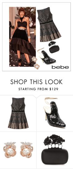 """""""Soirée de Luxe with bebe Holiday: Contest Entry"""" by deborah-strozier ❤ liked on Polyvore featuring Bebe, Anabela Chan and Alexander McQueen"""