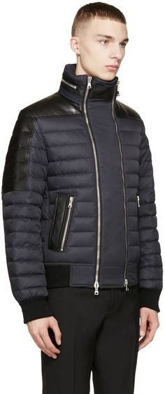 Balmain Black Leather-Trimmed Down Jacket