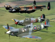 Supermarine Spitfire, Hawker Hurricane, and an Avro Lancaster