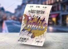 cool City Lights Poster Template CreativeWork247 - Fonts, Graphics, Themes,...