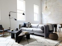 modern living room with grays, taupes, and white