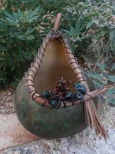 Gourd Vase - Pine needle weaving, dried flowers