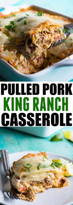 Pulled Pork King Ranch Casserole.  The classic casserole famous in Texas gets a little bit of a makeover using tender juicy pulled pork!  Layers of crisp tortillas, a chili powder spiked cream sauce with smokey tender pork, and melted cheese.  This dish is perfect for get togethers or potlucks!  King Ranch Casserole is a classic...Read More »