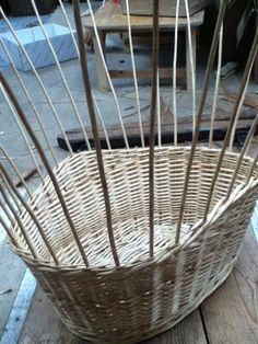7 of 10 - washing basket being made - final wale before border Washing Basket, Weaving Techniques, Basket Weaving, Wicker Baskets, Home Decor, Baskets, Interior Design, Home Interior Design, Home Decoration