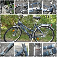 Recycling jeans for a bicycle