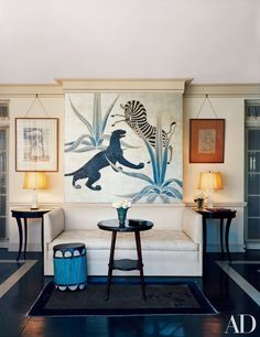 Marlene Dietrich rented socialite Dorothy di Frasso's Beverly Hills residence, which Elsie de Wolfe decorated.Mural by Charles Baskerville.
