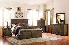 weathered wood bedroom sets   Hardwin Rustic Weathered Grey Wood 5pc Bedroom Set…