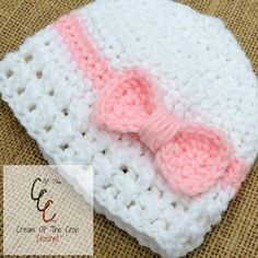Cream of the Crop Crochet~Preemie/Newborn Bow Hats {paid #crochet pattern} #handmade