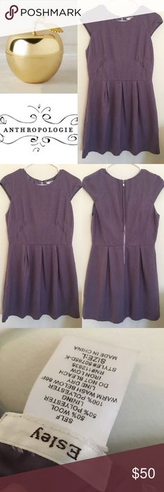 Gorgeous plum wool blend winter dress by esley Esley plum purple gorgeous dress. Size large. In excellent condition! 😜I do have a newborn and 4 year old at home and if I don't get back to you right away it's probably because they have taken me hostage.  👎🏻 no trades or Paypal 👊🏻 please no lowball offers ✔️all items come from a smoke free home 🎁 gift wrapping and personalized note available for only $.99 🛍Thank you for shopping my closet Anthropologie Dresses