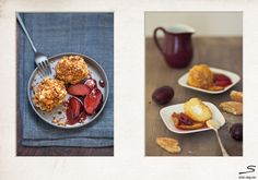 Tipsy #Plums and Goat Cheese Dumplings. Photo by @Danya Weiner & Foodstyling by @Deanna Linder for #sisterMAG N°5