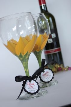 Sunflower Wedding glasses | Hand painted wine glasses, marti… | Flickr