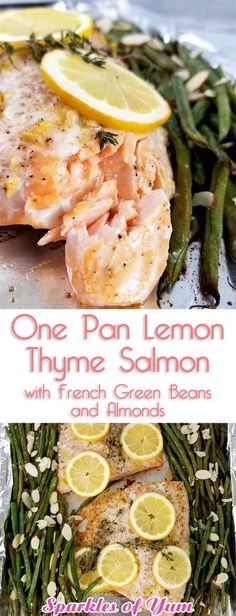 Not only was this One Pan Lemon Thyme Salmon with French Green Beans and Almonds beyond easy, it was divine! It tasted even better than I expected; bursting with flavor; and with minimal clean-up. #healthyeating #seafood #salmon #glutenfree #lowcarb #keto via @sparklesofyum