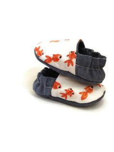 Go Fish Reversible baby shoes chambray blue by LittleThreadWagon, $28.00