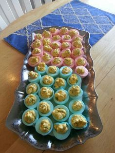 Pink & Blue deviled eggs for a baby shower!