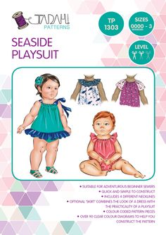 PATTERN Seaside Playsuit/Romper/Sunsuit - PDF Sewing Pattern - Instant Download - Tadah Patterns by TadahPatterns on Etsy https://www.etsy.com/listing/160761077/pattern-seaside-playsuitrompersunsuit