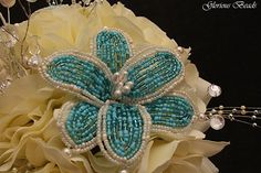 Turquoise / Teal and Ivory BEADED Flower Lily Bridal Bouquet 25 PC Set Wedding Set with Roses. Includes Bouquets Corsages  Boutonnieres  flower girl basket & ring bearer pillow Handmade