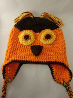 Owl Halloween  Hat Crochet Earflap Beanie by toppytoppy on Etsy, $23.00