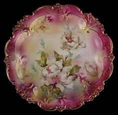 R S Prussia Porcelain Cherry Plate with Floral Design