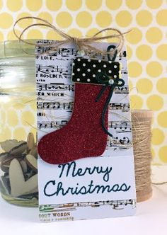 tag, christmas gift tags, sock stockings, In My Creative Opinion: 25 Days of Christmas Tags - Day 23 25 Days Of Christmas, Christmas Gift Tags, Christmas Stockings, Merry Christmas, Christmas Ideas, Gold Foil Paper, Scrapbook Cards, Scrapbooking, Tag Art