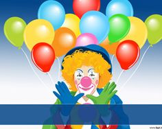 Free Circus Clown PowerPoint with Clown and color balloons in the slide design