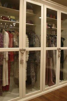37 Trendy Walk In Bedroom Closet Organization Glass Doors Master Closet, Closet Bedroom, Walk In Closet, Closet Space, Glass Closet Doors, Glass Doors, Dressing Room Closet, Dressing Rooms, Closet Vanity