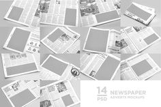 Buy 14 Newspaper Adverts Mockups by on GraphicRiver. 14 Newspaper Adverts Mockups by 14 Newspaper Adverts Mockups is a pack of 14 PSD files based on real photo, . Business Presentation, Presentation Design, Mockup Creator, Mockup Templates, Business Brochure, Newspaper, Colorful Backgrounds, Behance, Objects