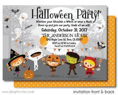 Costume birthday party invitations with envelopes fall kid friendly halloween party invitations halloween theme birthday party invites printed halloween birthday filmwisefo Image collections