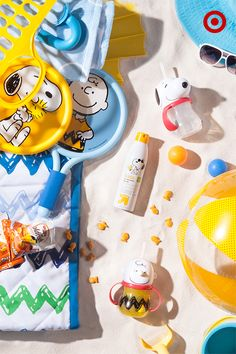 Sometimes, nothing's more fun than a day in the sun. Get perfectly prepped for a trip to the beach with awesome Peanuts beach gear like sunscreen, toys, Peanuts character cups and a few of Snoopy's favorite games. Add some healthy snacks and you're good to go! Check out the Peanuts Collection, in stores now.