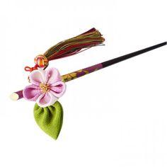 オリジナル 正絹 ちりめん 一輪梅かんざし(紫ぼかし)