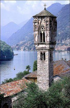Lago di Como: IL Campanile, Ossuccio, Lake Como  by Alan Gubbay Guarda le Offerte!