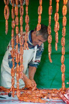 Preparando la txistorra, Basque Country Spain