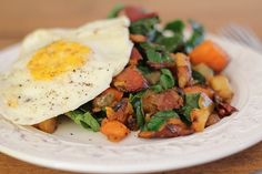 Sweet Potato & Rainbow Chard Hash with Bacon (great use for holiday leftovers) http://www.roastedrootfood.com