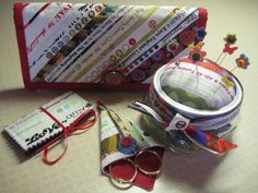 sewing necessities--pocketed foldover bag, needle book, scissor cover and pincushion on a jar.  Use selvedges or fabric of your choice.