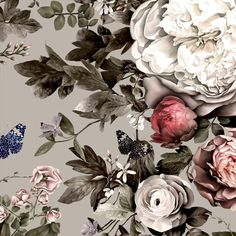 Summer Squall in Red Hot + Beige Sample - Floral Wallpaper Samples - by Ellie Cashman Design