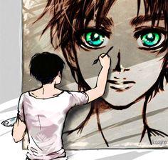 Artist Levi painting Eren's eyes, Ereri