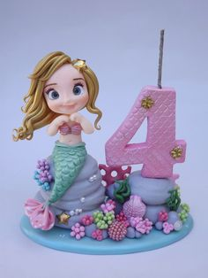 Mini topo circo no Little Mermaid Cakes, Mermaid Birthday Cakes, Ballerina Birthday Parties, Little Mermaid Parties, Birthday Cake Girls, Birthday Party Themes, Fondant Animals, Balloon Garland, Cute Cakes