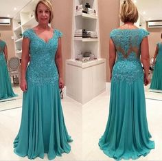 Elegant Plus Size Mother of the Bride Dresses Lace Appliques Chiffon Long Evening Gowns  $109