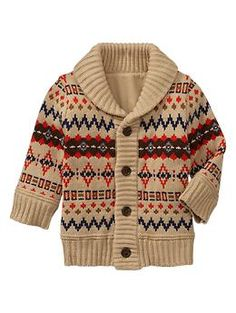 Fair Isle shawl cardigan | Gap    This is might be the perfect topper for his first visit to the school.