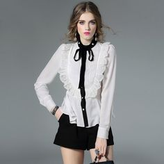 Tops Fashion New Designer Blouses Women Stand Collar Ruffles Lace Patchwork Pleated Black White Ladies Office Shirt Blouses XL