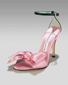 Nadire Atas on Shoe Addictions Christian Lacroix Pink Satin w/Rhinestone Strap Heels, Size Christian Lacroix, Christian Louboutin, Pretty Shoes, Beautiful Shoes, Shoe Boots, Shoes Sandals, Pink Sandals, Diy Schmuck, Pink Shoes
