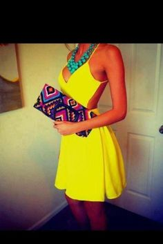 dress clothes cut out dress yellow dress little black dress white dress outfit sundress criss cross bag jewels backless yellow clutch midi yellow summer dress open back dresses wheretoget? turquoise neon yellow dress with high slit open back dress short Vestidos Neon, Neon Dresses, Cute Dresses, Halter Dresses, Dress Straps, Party Dresses, Chiffon Dress, Dresses Dresses, Strapless Dress