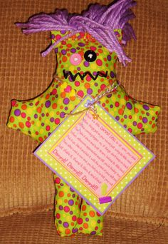 Green and Purple Dots Dammit Doll - Laurie's DDoLLs