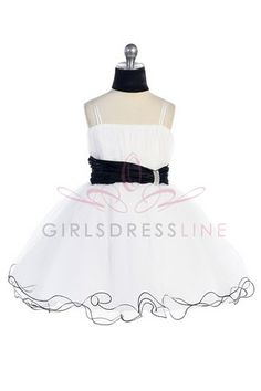 Black accented waistband Mini tulle flower girl dress