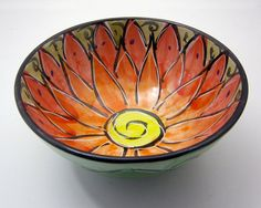 Serving Bowl Clay Majolica Pottery by ClayLickCreekPottery on Etsy, $30.00