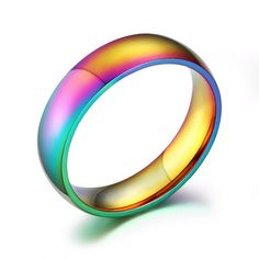New Charming Rainbow Colorful Titanium Steel Finger Ring - Pluto99
