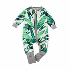 Baby/Toddler's Cotton Zip-Up Long-Sleeve Leaf Jumpsuit