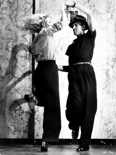 ginger rogers rehearsing with hermes pan, 'swing time'