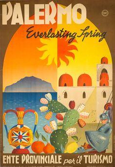 Palermo Vintage travel poster Italy, Sicily #essenzadiriviera olive oil cosmetics